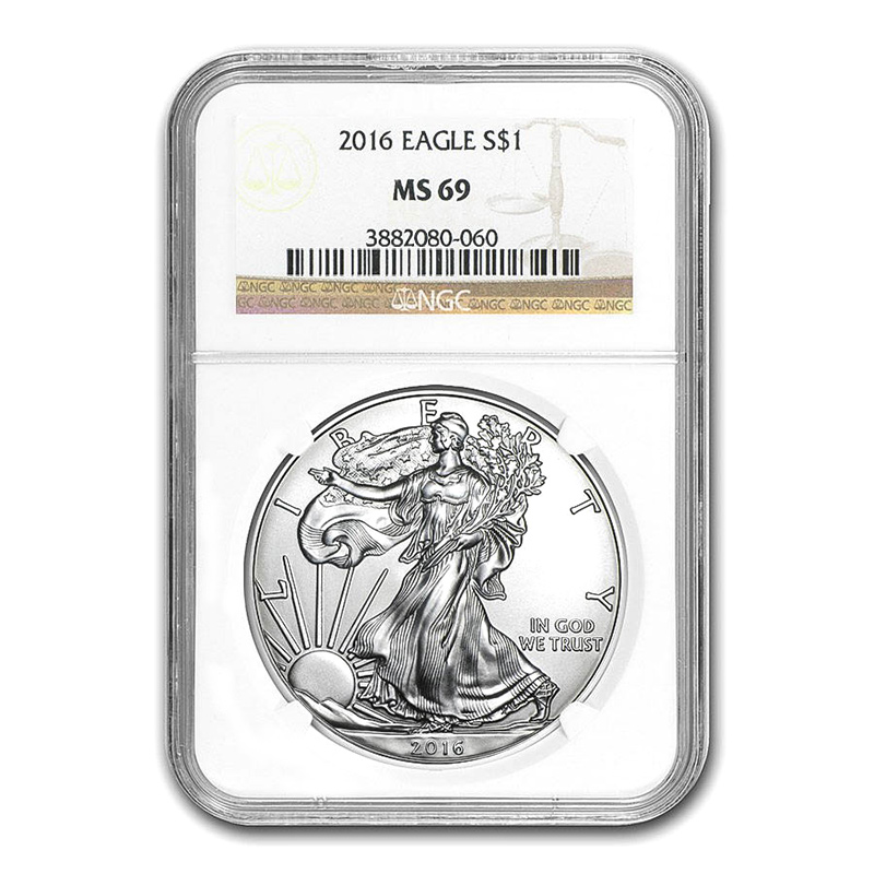 Certified Uncirculated Silver Eagle 2016 MS69 NGC