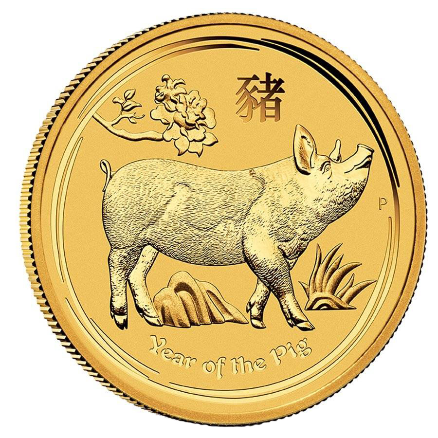Australian Perth Mint Series II Lunar Gold 1/10th oz 2019 Pig