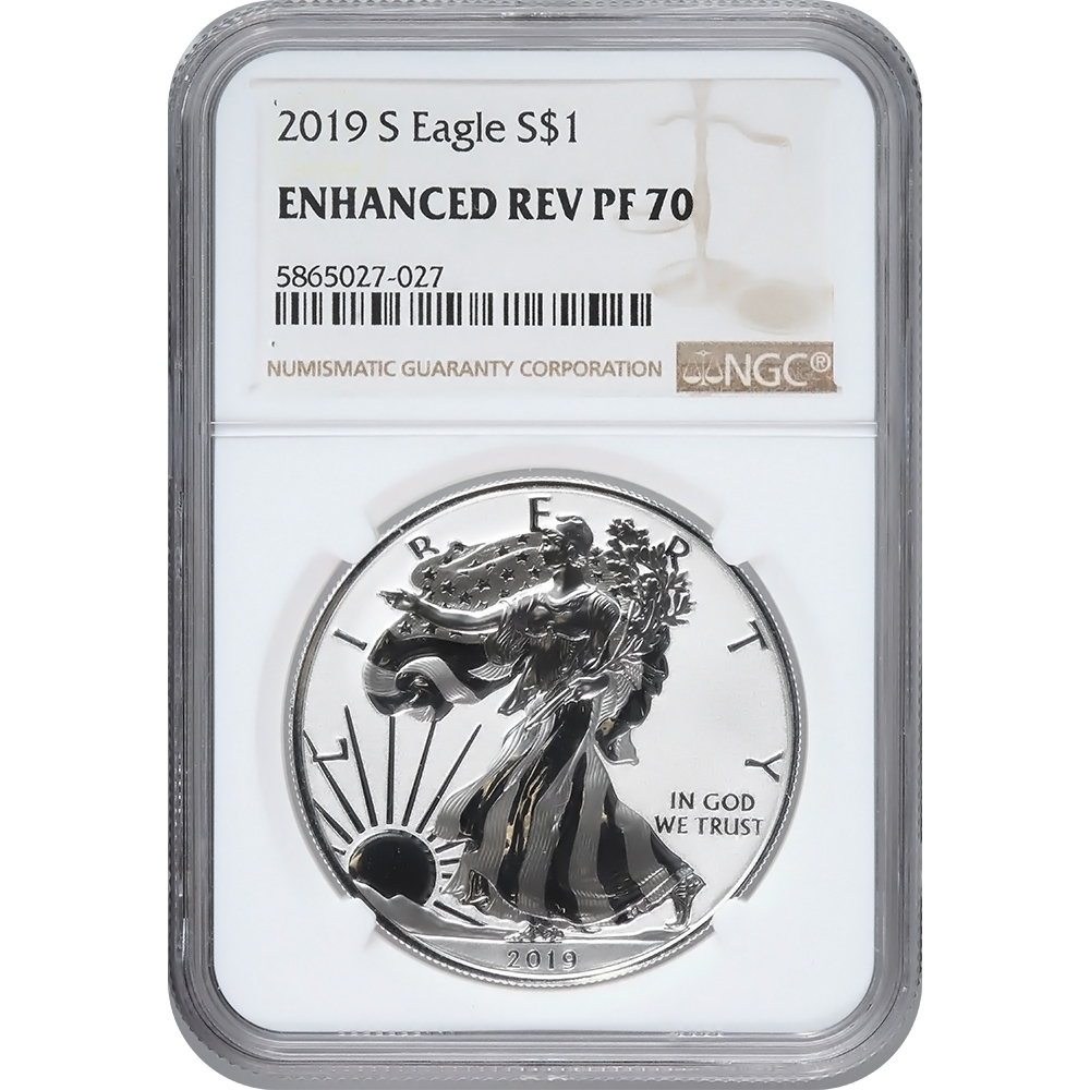 Certified Enhanced Reverse Proof Silver Eagle 2019-S PF70 NGC