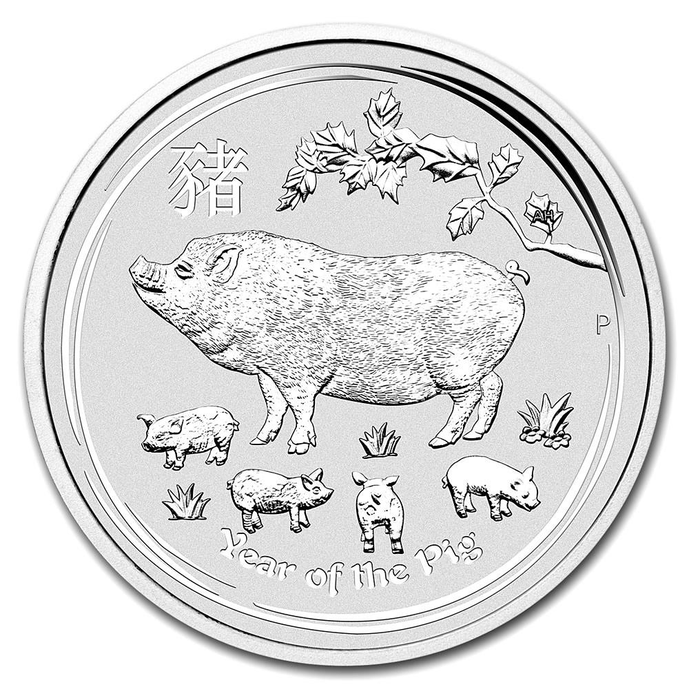 2019 Australia 2 oz Silver Lunar Pig