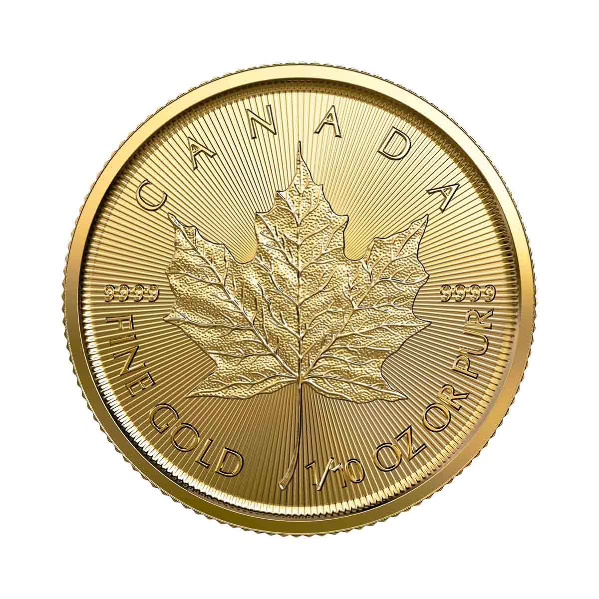 1/10 oz Canadian Gold Maple Leaf Uncirculated - Random Year
