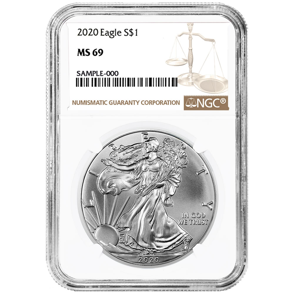 Certified Uncirculated Silver Eagle 2020 MS69 NGC