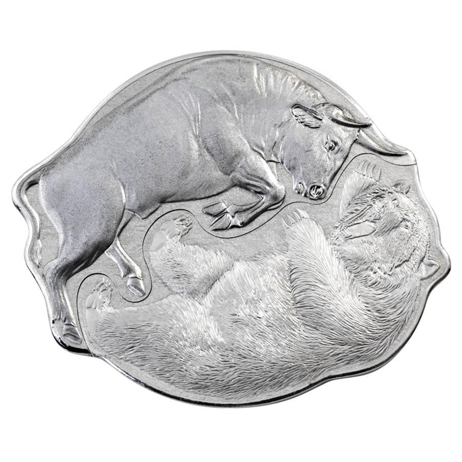 2021 Pamp Bull VS Bear Interlocking 2 oz Silver Coin - Solomon Islands
