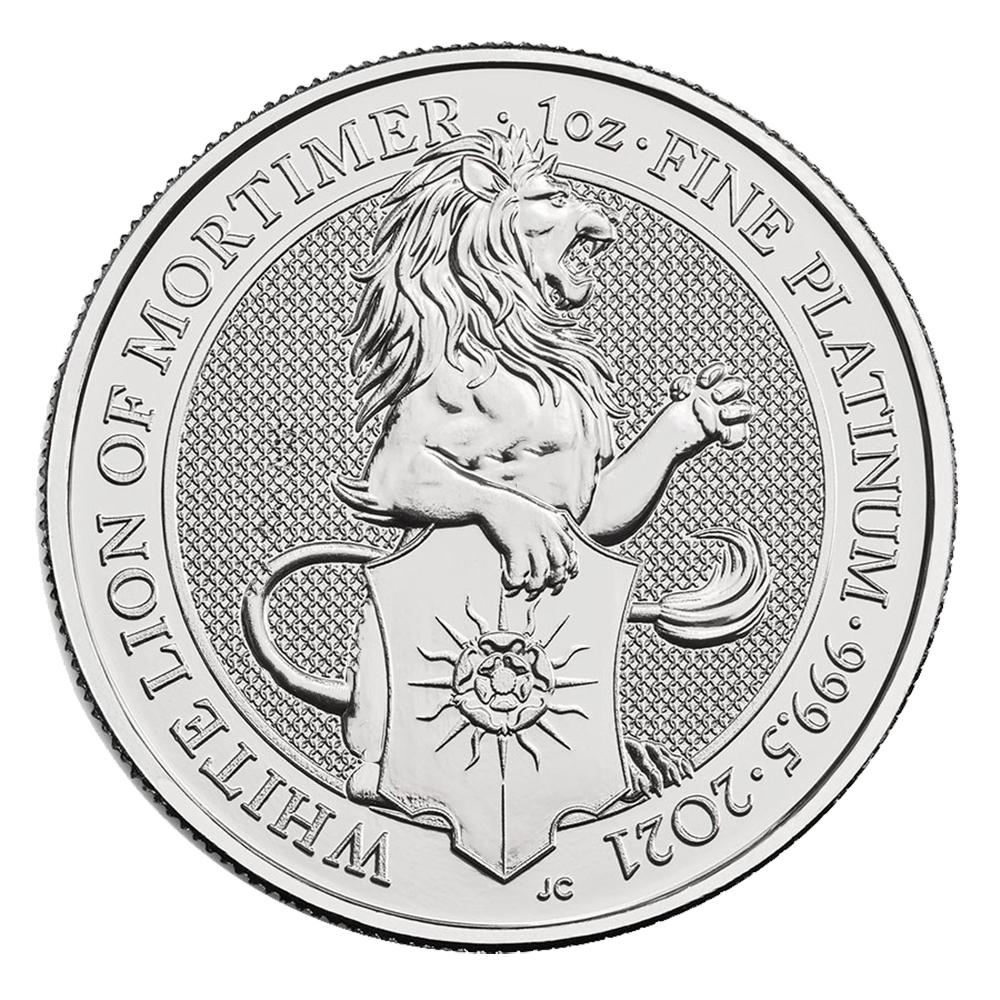 2021 1oz British Platinum Queen's Beast White Lion Coin (BU)