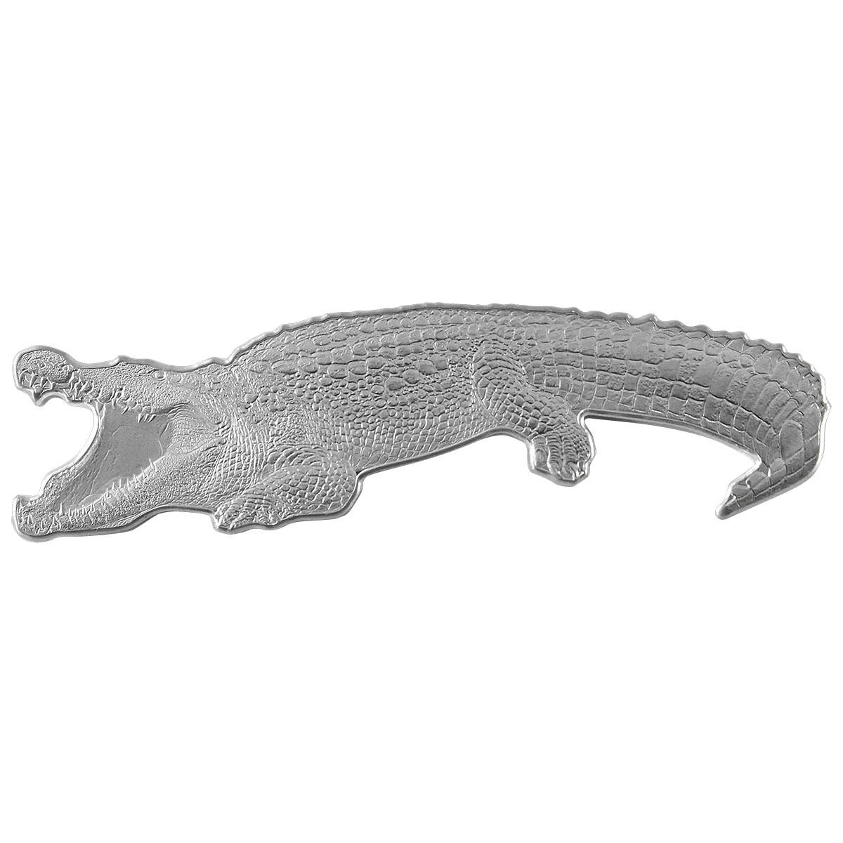 2021 Solomon Islands 1 oz Nile Crocodile Shaped Silver Coin