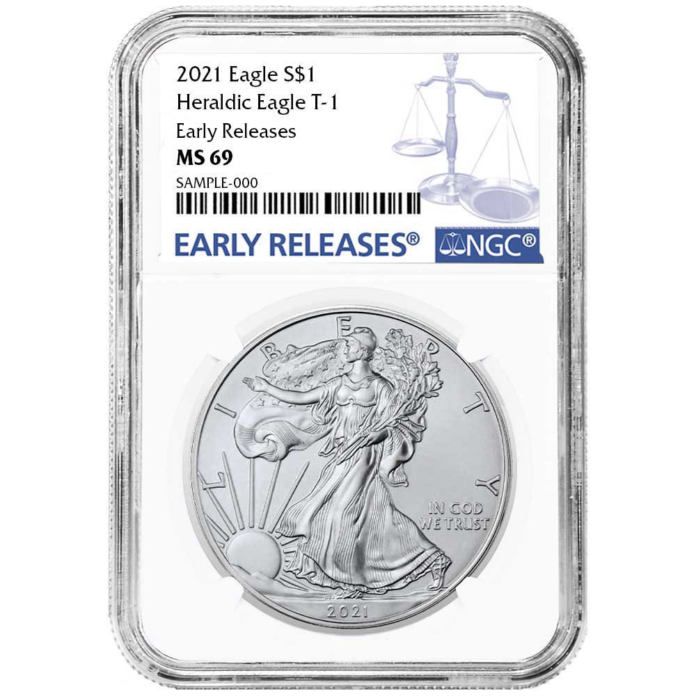 Certified Uncirculated Silver Eagle 2021 MS69 NGC Early Releases Type 1