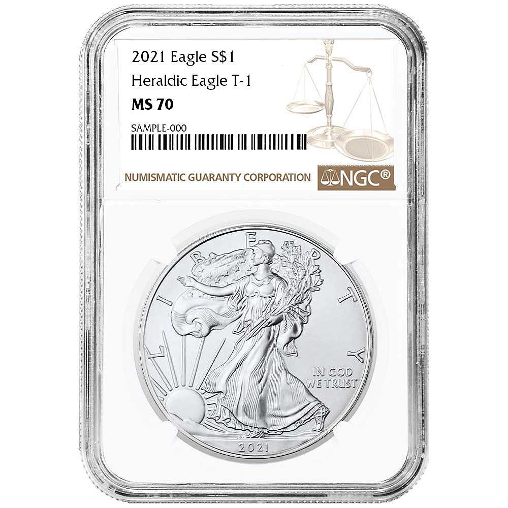 Certified Uncirculated Silver Eagle 2021 MS70 NGC Type 1