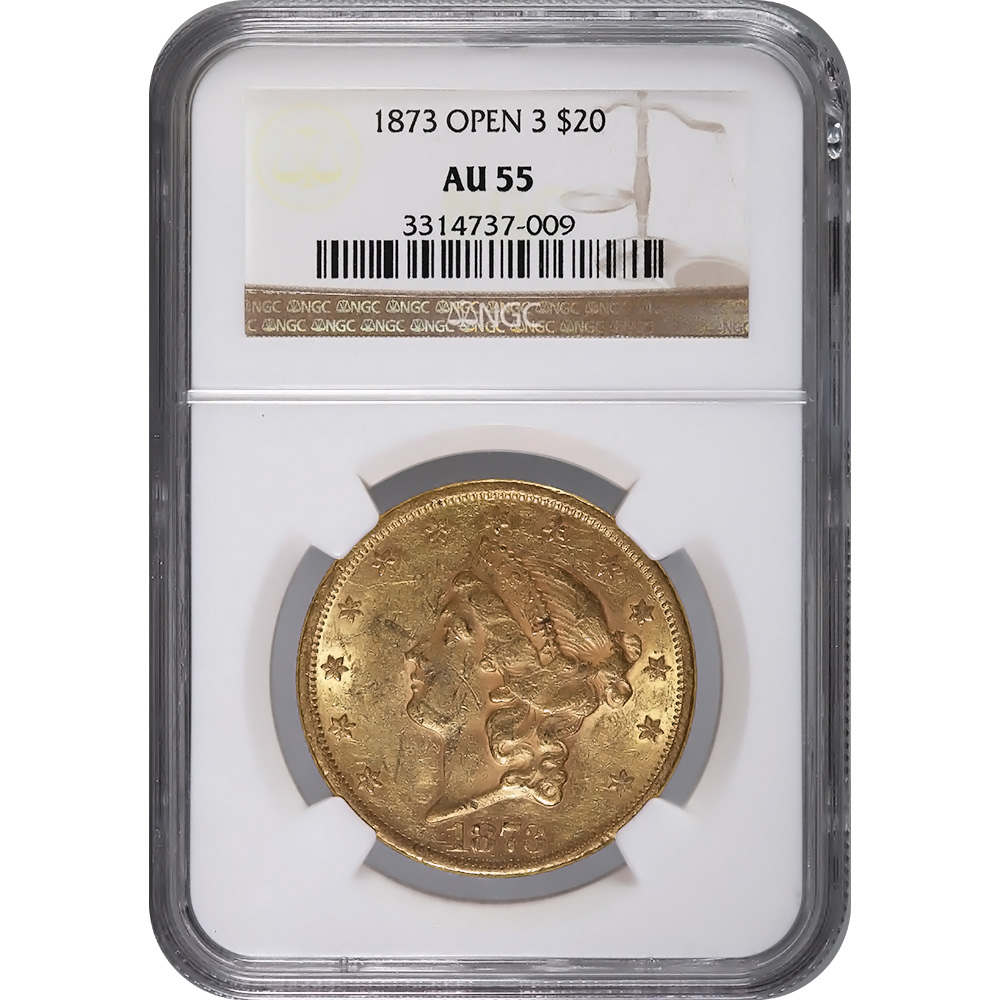 Certified US Gold $20 Liberty 1873 Open 3 AU55 NGC