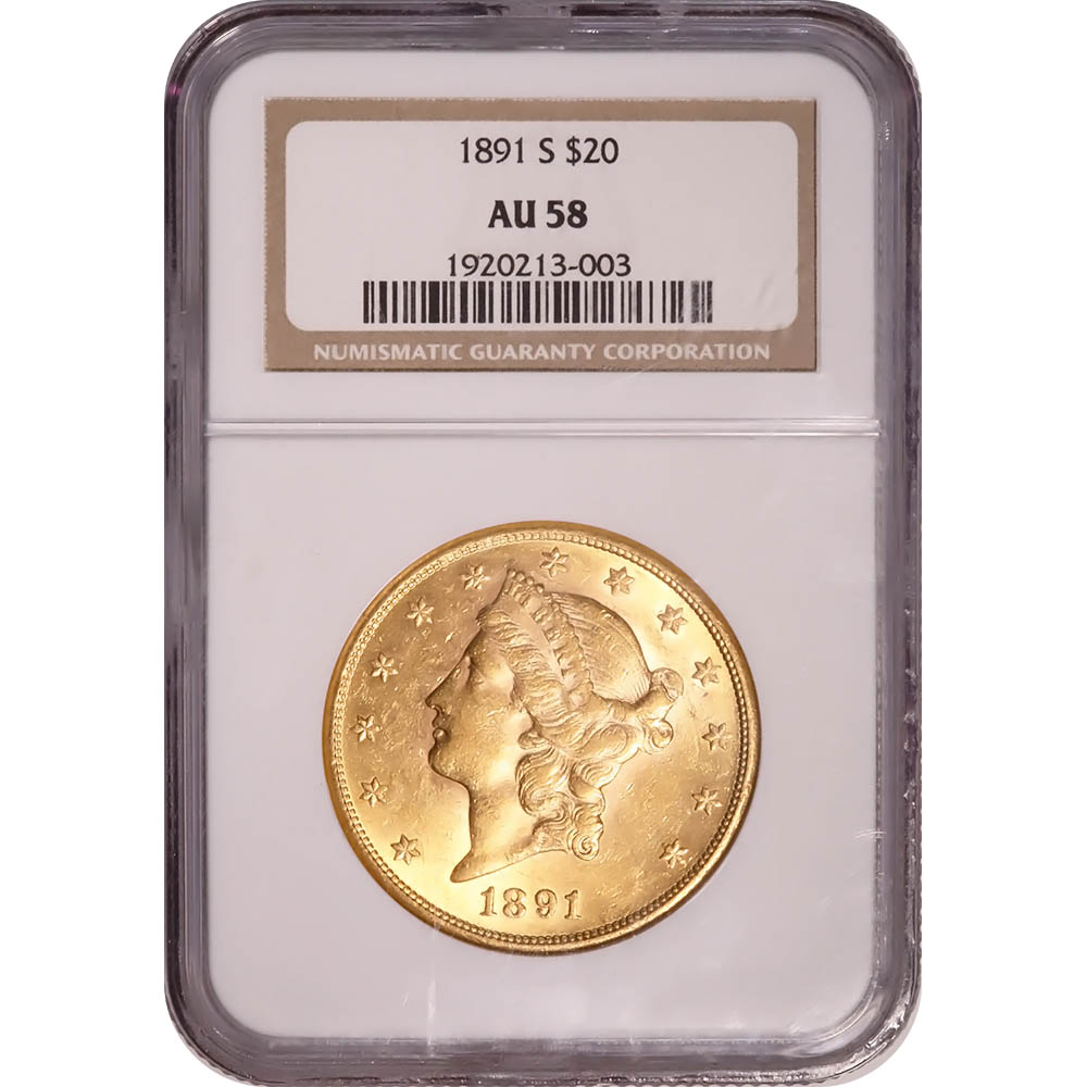 Certified US Gold $20 Liberty 1891-S AU58 NGC