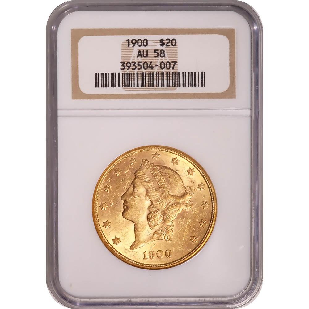 Certified US Gold $20 Liberty 1900 AU58 NGC