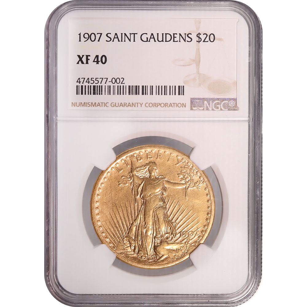 Certified US Gold $20 St. Gaudens 1907 XF40 NGC