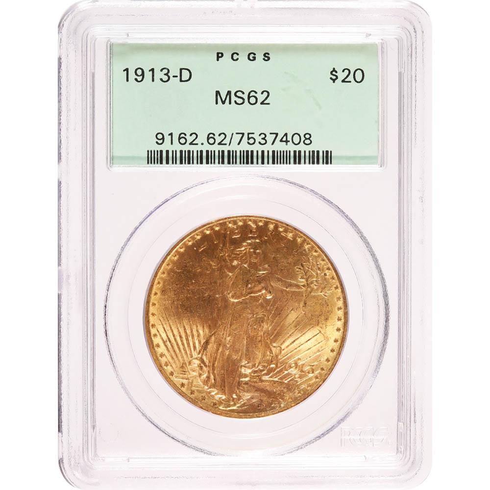 Certified $20 St Gaudens 1913-D MS62 PCGS