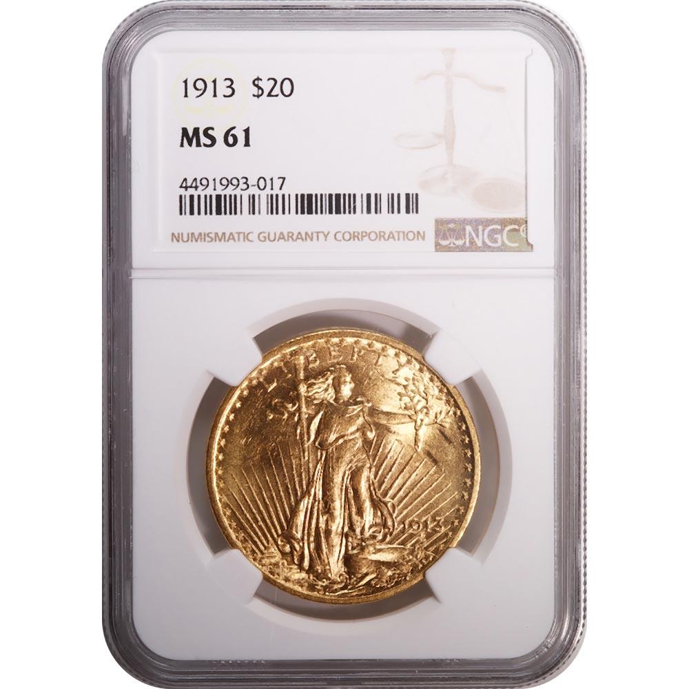 Certified $20 St Gaudens 1913 MS61 NGC