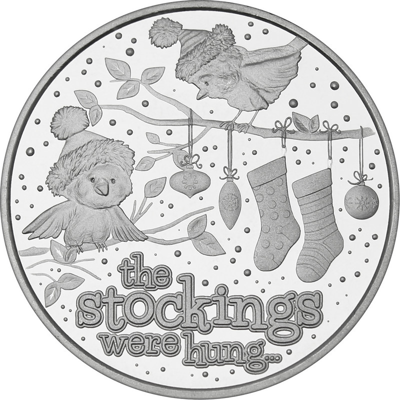 2021 1oz Stockings Were Hung Christmas Silver Round (X-5)