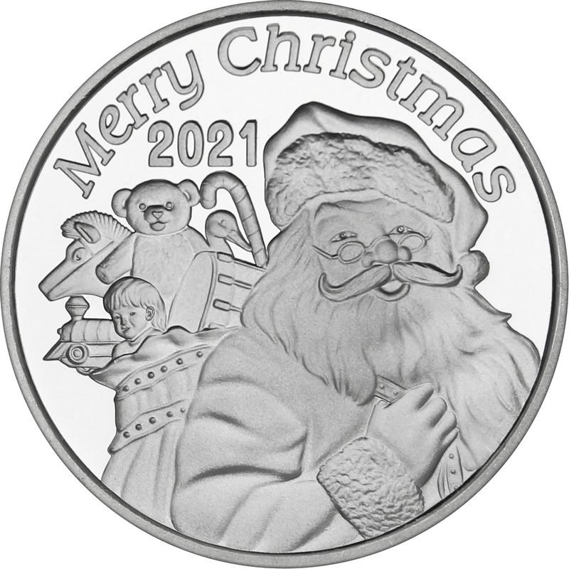 2021 1oz Cheerful Santa Christmas Silver Round (X-9)