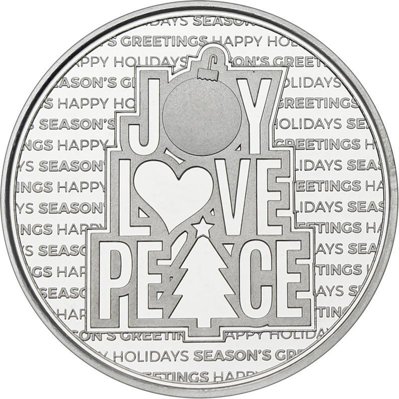 2021 1oz Peace Love Joy Christmas Silver Round (X-12)
