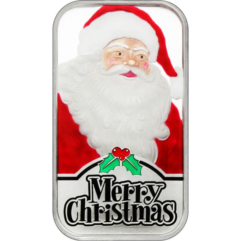 2021 Enameled Santa Claus Christmas 1oz Silver Bar (XE-1)