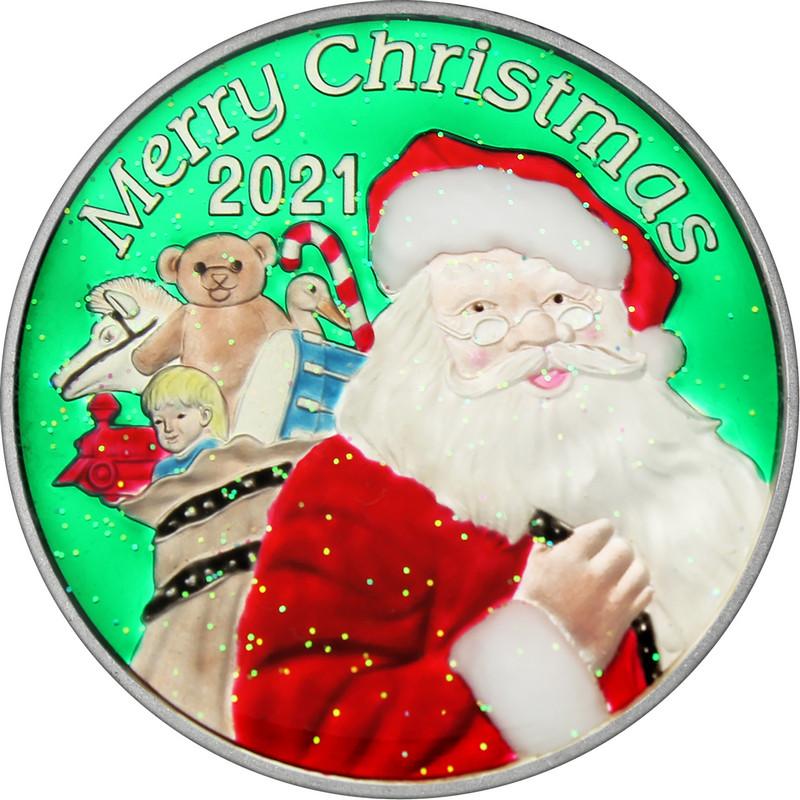 2021 1oz Enameled Cheerful Santa Christmas Silver Round (XE-9)