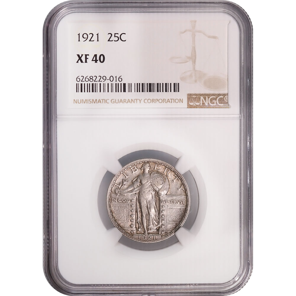 Certified Standing Liberty Quarter 1921 XF40 NGC