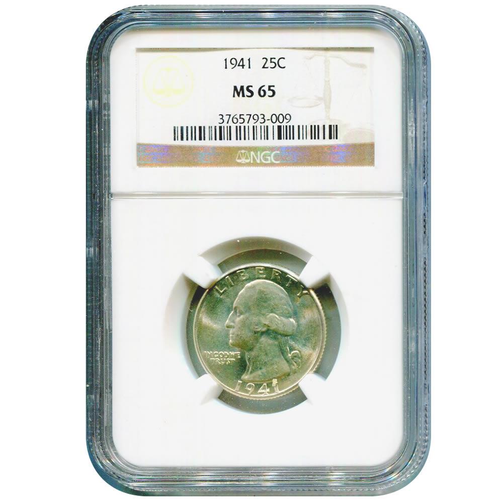 Certified Washington Quarter 1941 MS65 NGC