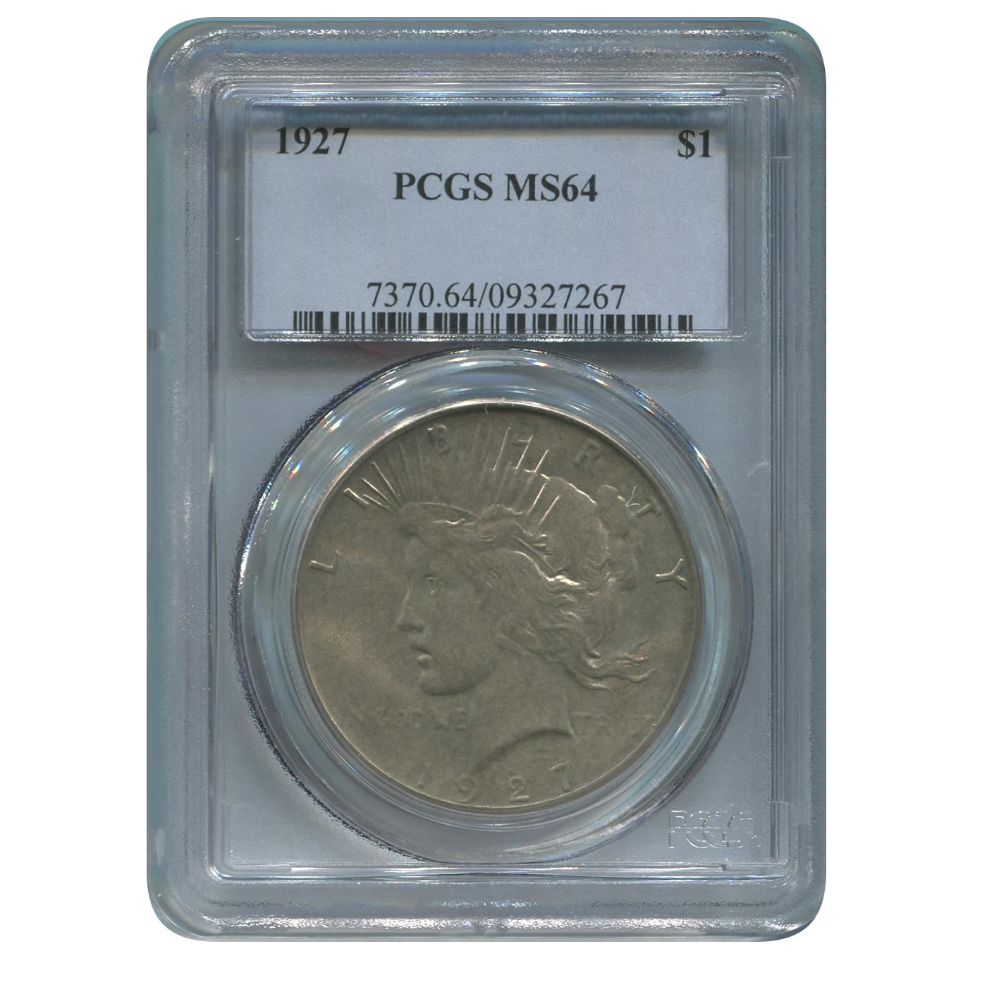 Certified Peace Silver Dollar 1927 MS64 PCGS