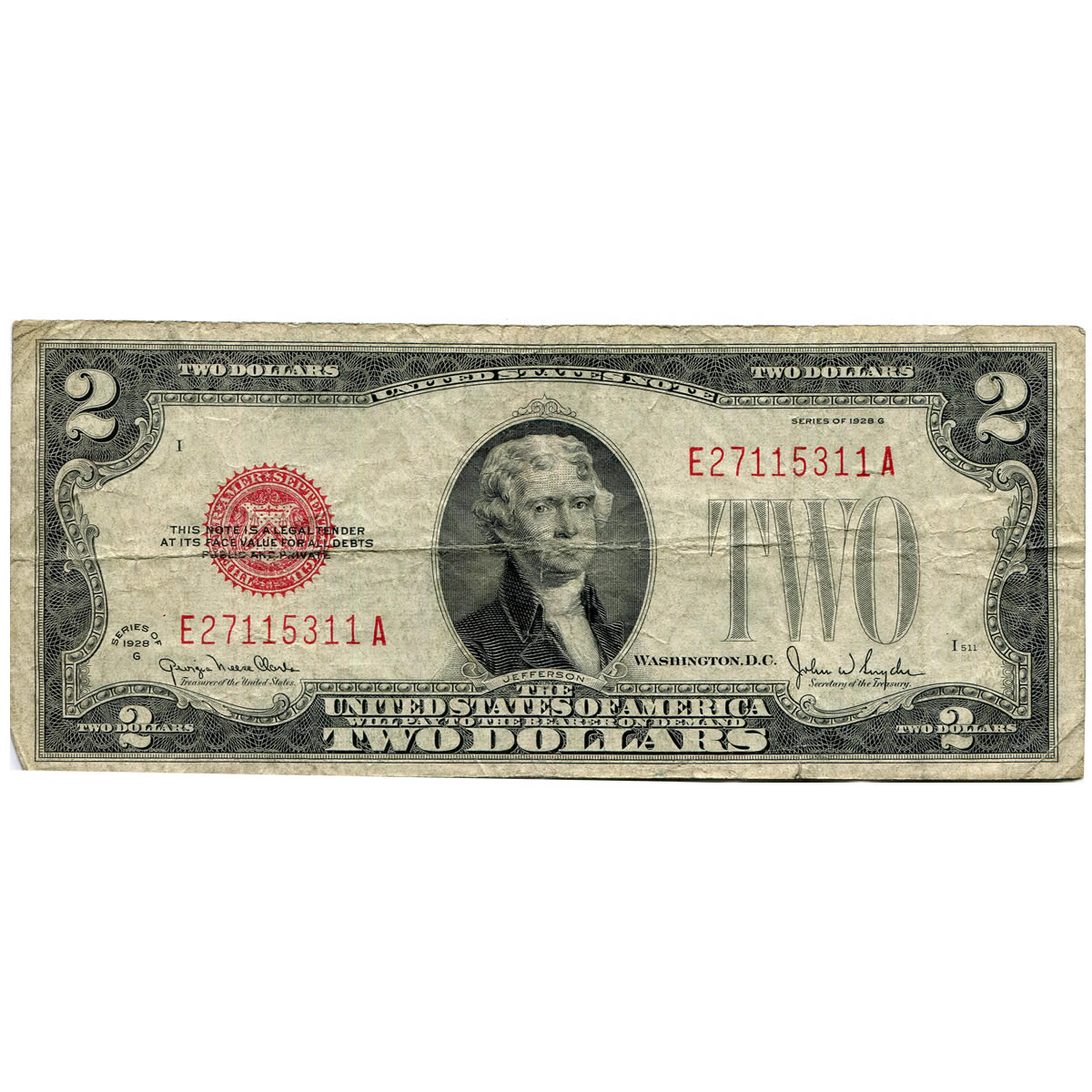 1928 Series $2 small size legal tender note G-VG
