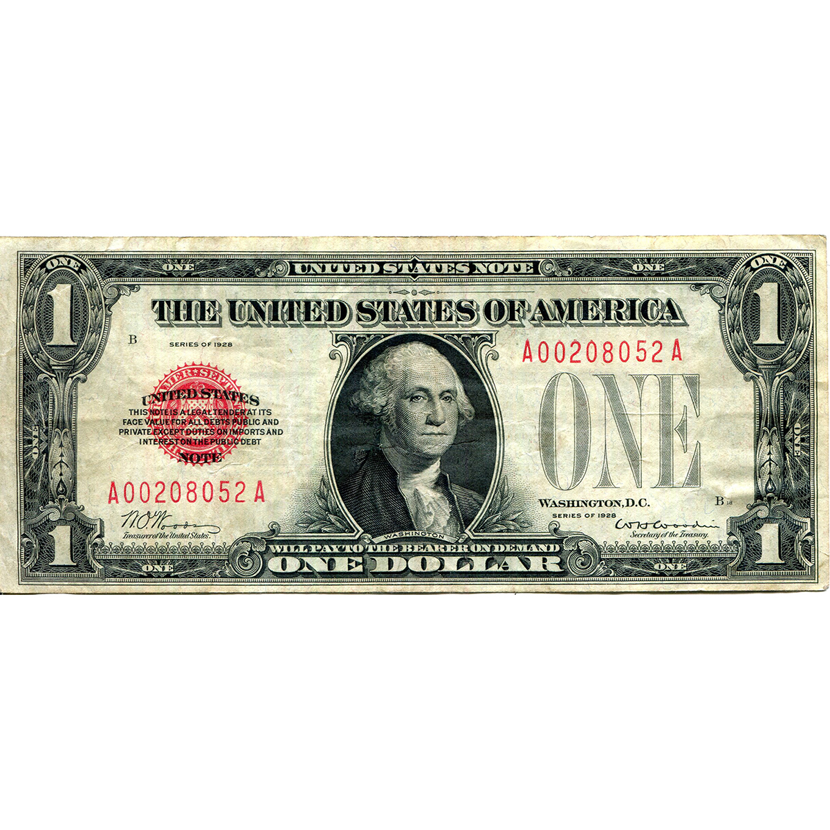 1928 $1 Red Seal United States Note VF