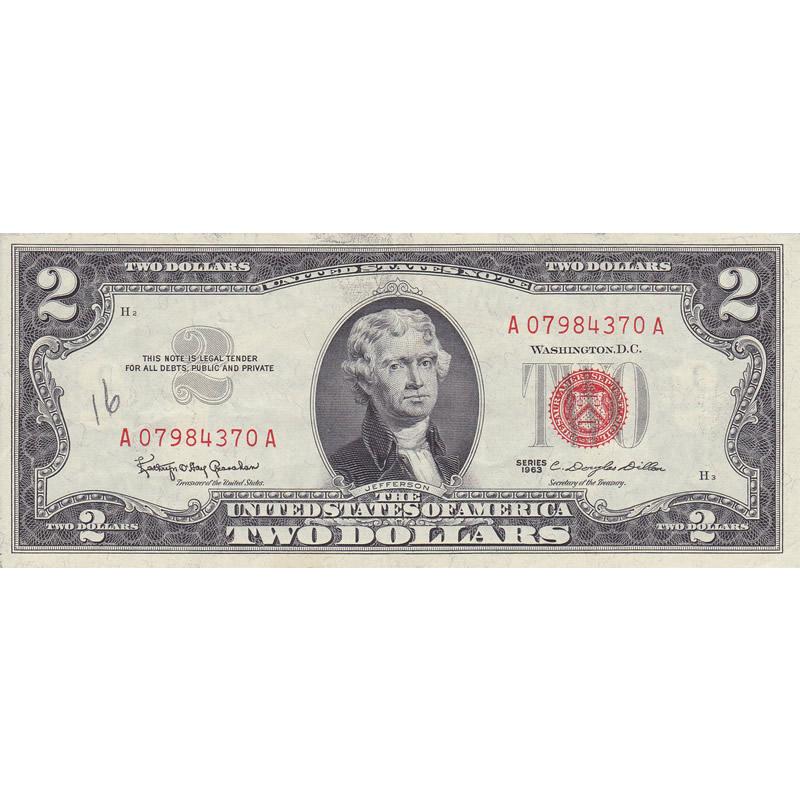 1963 Series $2 Legal Tender Note XF-AU