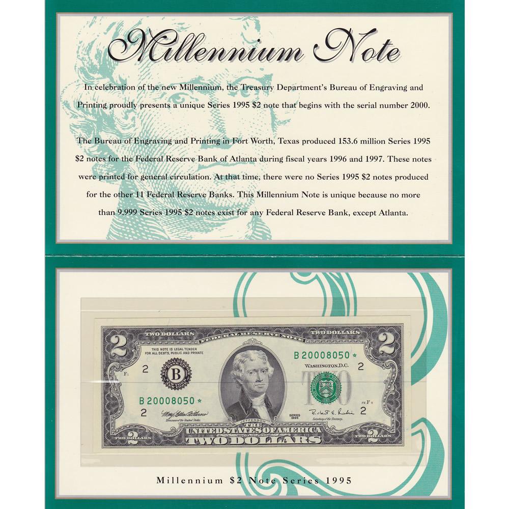 1995 $2 Star Millenium Note New York NY