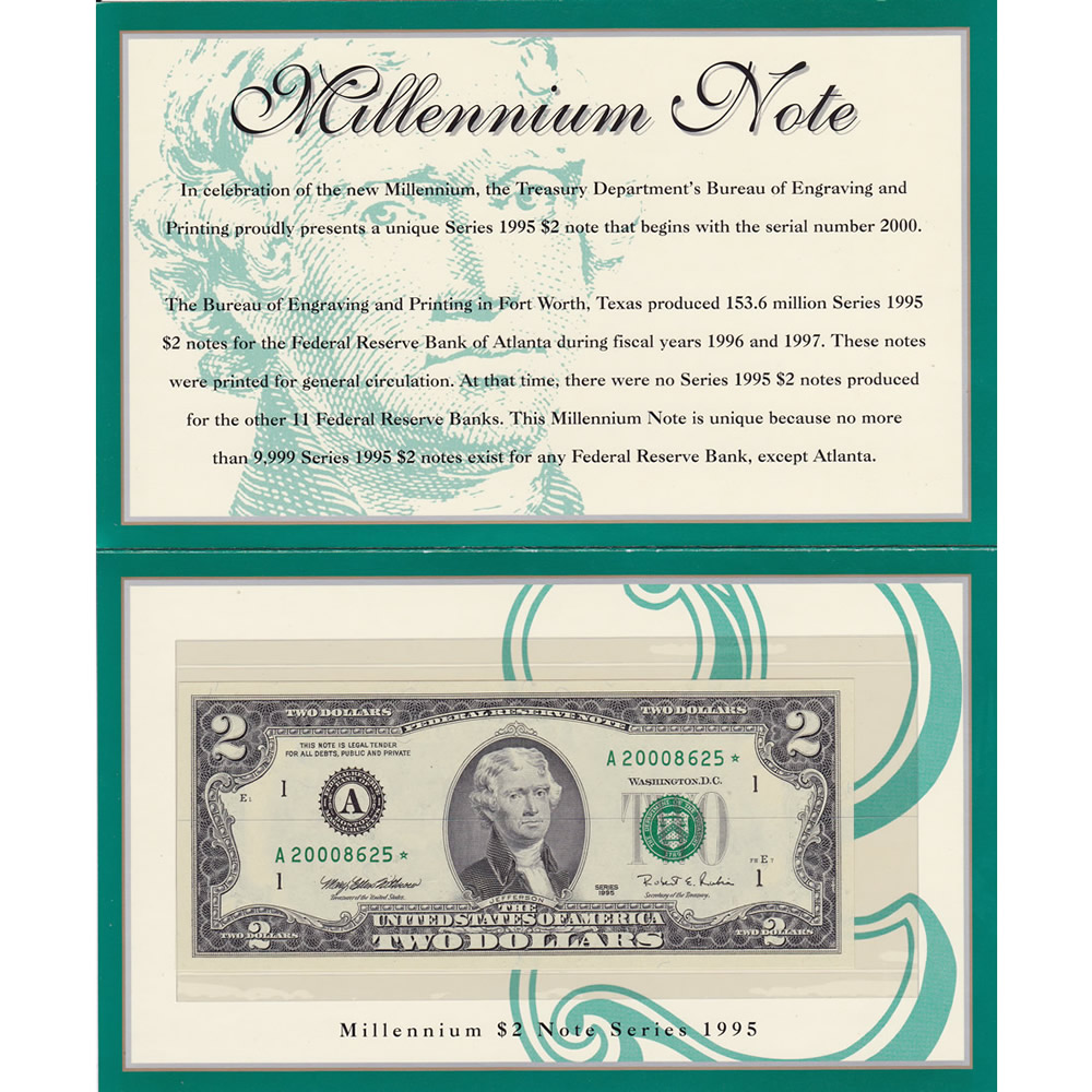 1995 $2 Star Millenium Note Boston MA