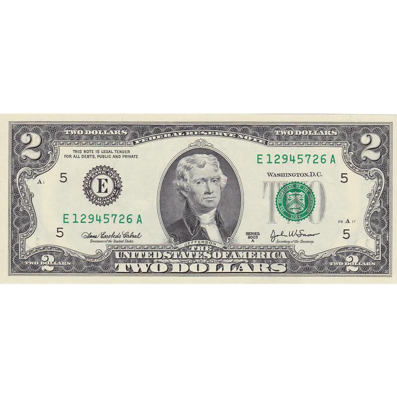 2003A $2 Federal Reserve Note CU
