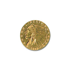 Early Gold Bullion $2.5 Indian Jewelry Grade