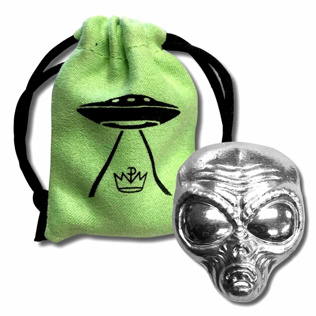 2 oz Fine Silver Alien Head -  Poured Bar