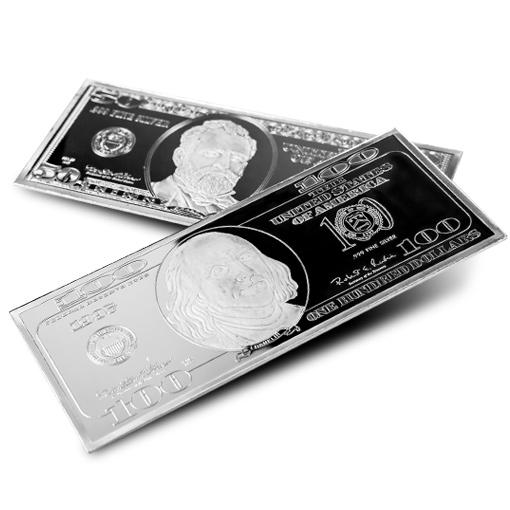Silver 4 Ounce Bar (Currency Design our Choice) .999 fine