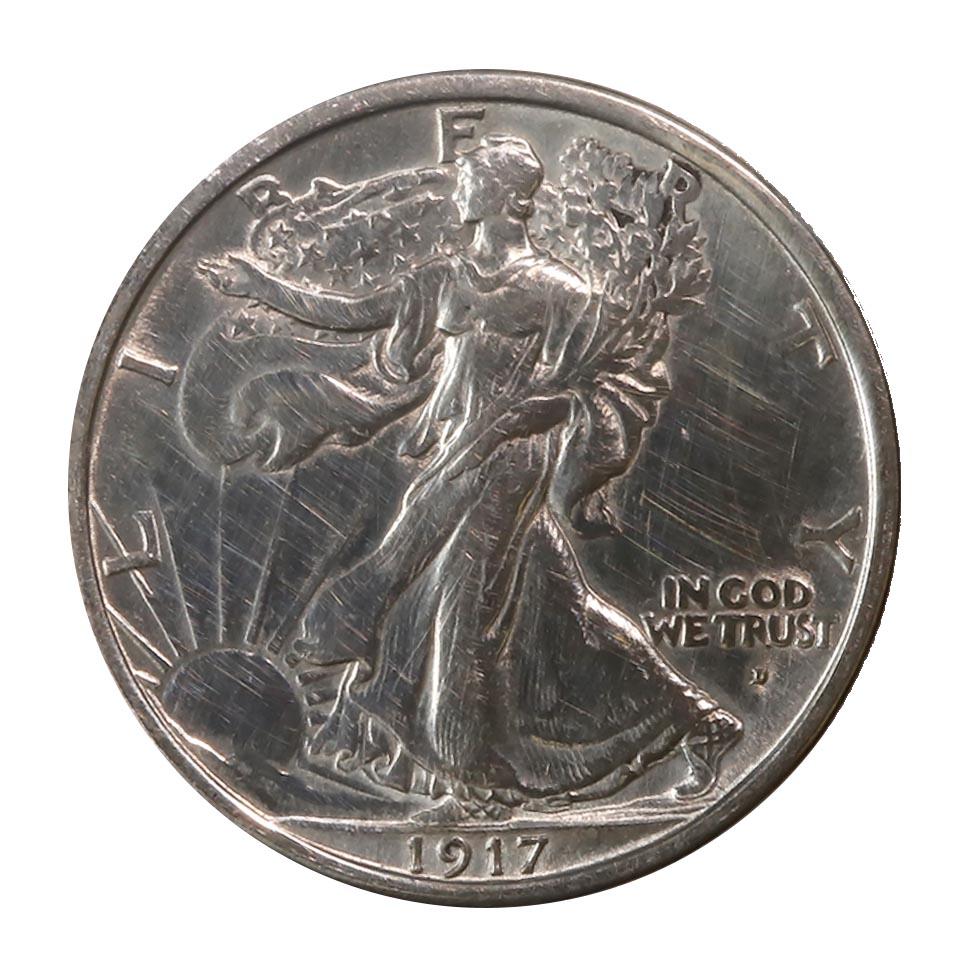 Walking Liberty Half Dollar 1917-D Obv. AU cleaned