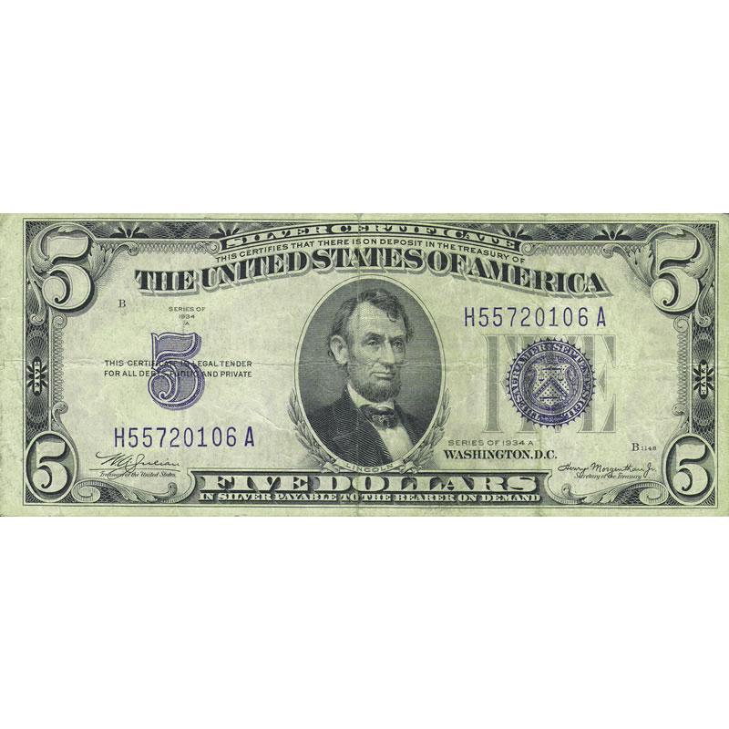 1934A $5 Silver Certificate G-VG