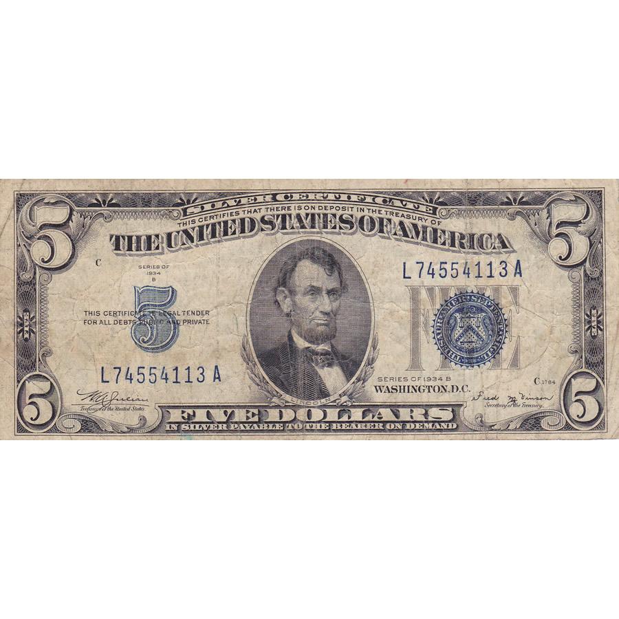 1934B $5 Silver Certificate, G-VG