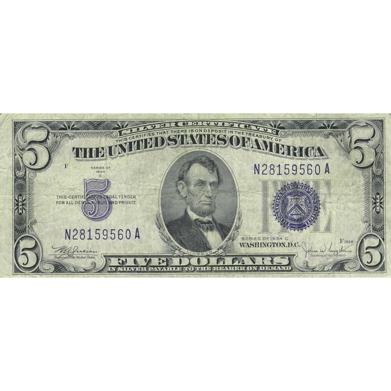 1934C $5 Silver Certificate G-VG