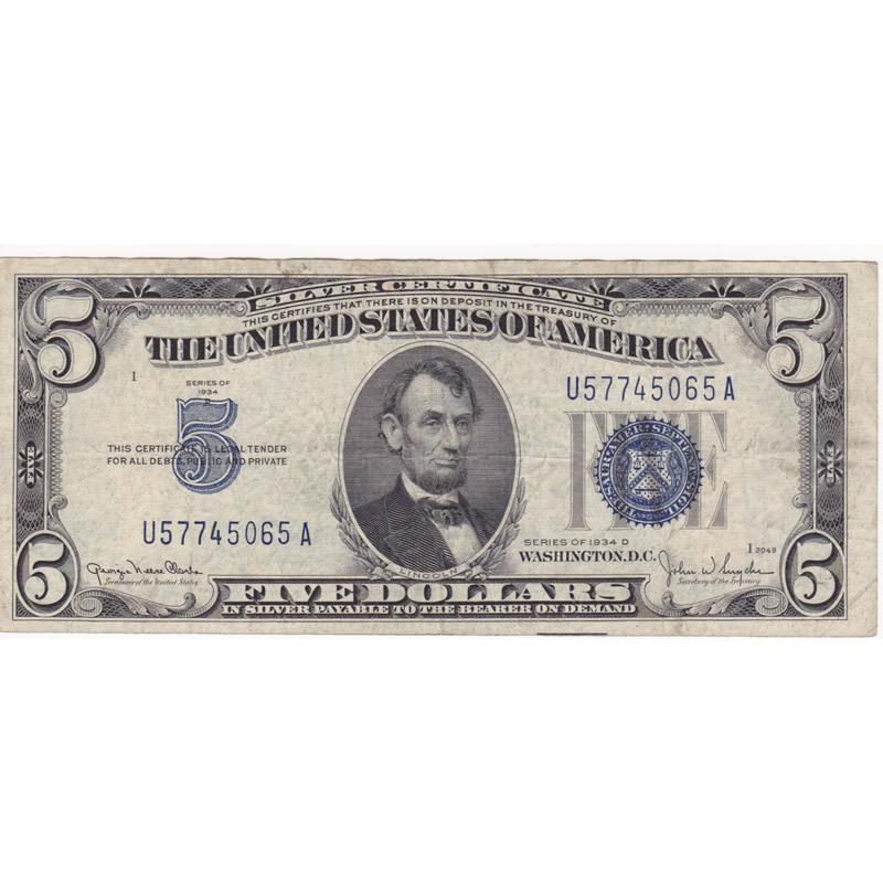 1934D $5 SIlver Certificate F-VF