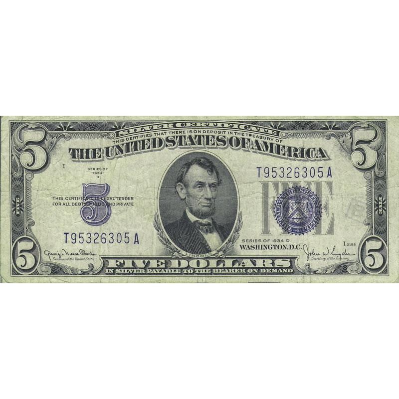 1934D $5 Silver Certificate G-VG