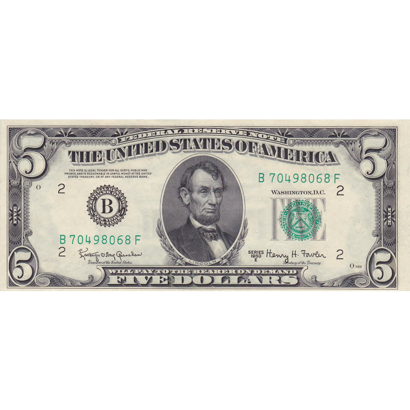 1950B $5 Federal Reserve Note UNC