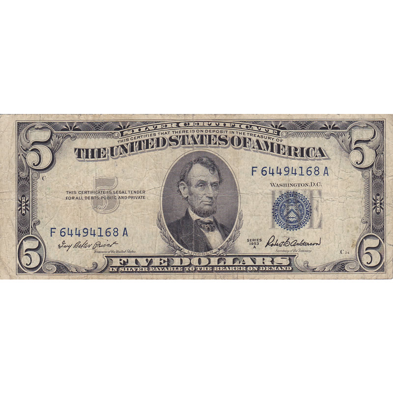 1953A $5 Silver Certificate G-VG