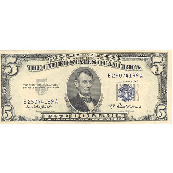 1953A $5 silver certificate CU