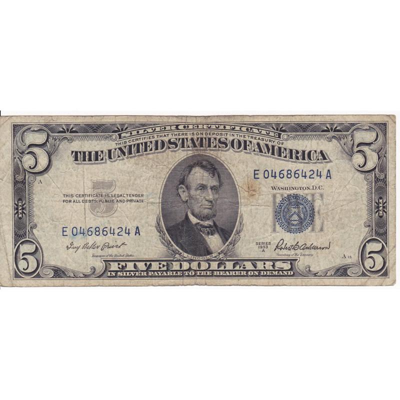 1953 $5 Silver Certificate G-VG
