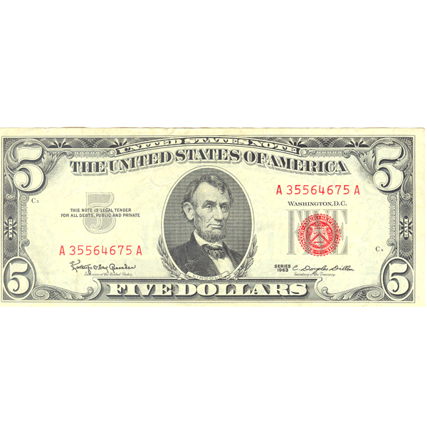1963 $5 red seal legal tender banknote F-VF