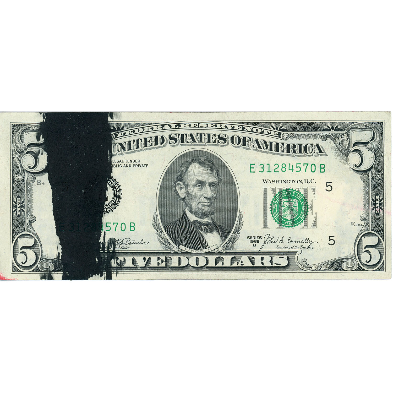 1969B $5 Federal Reserve Note ERROR Major Ink Smear XF