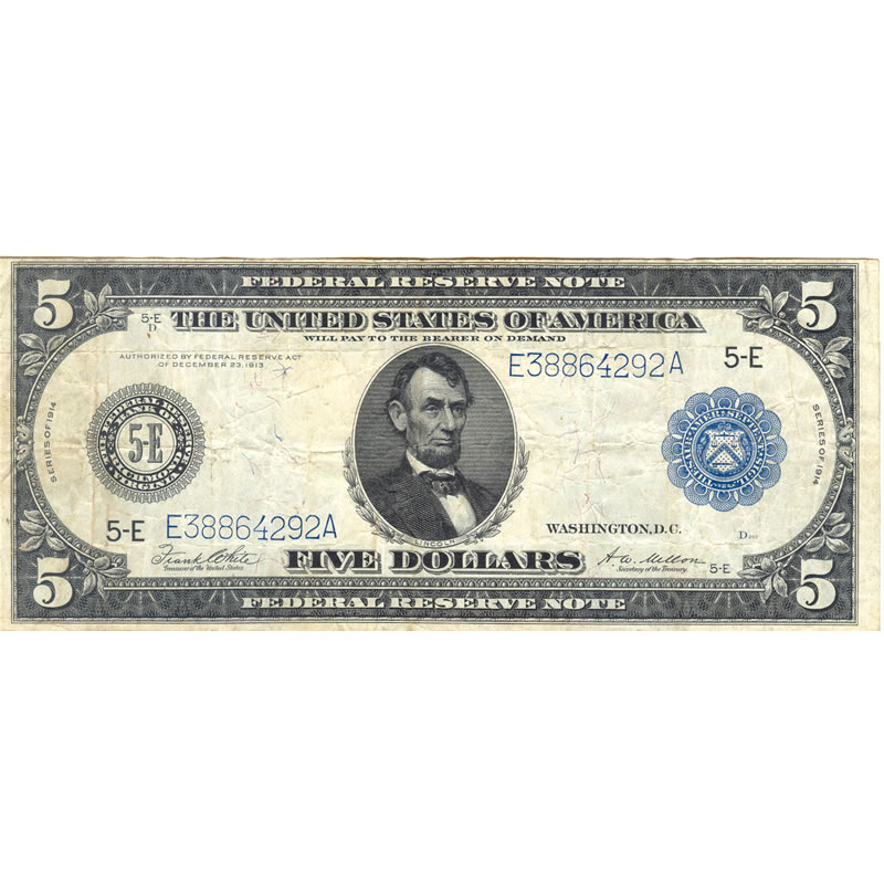 1914 $5 Federal Reserve Note VF