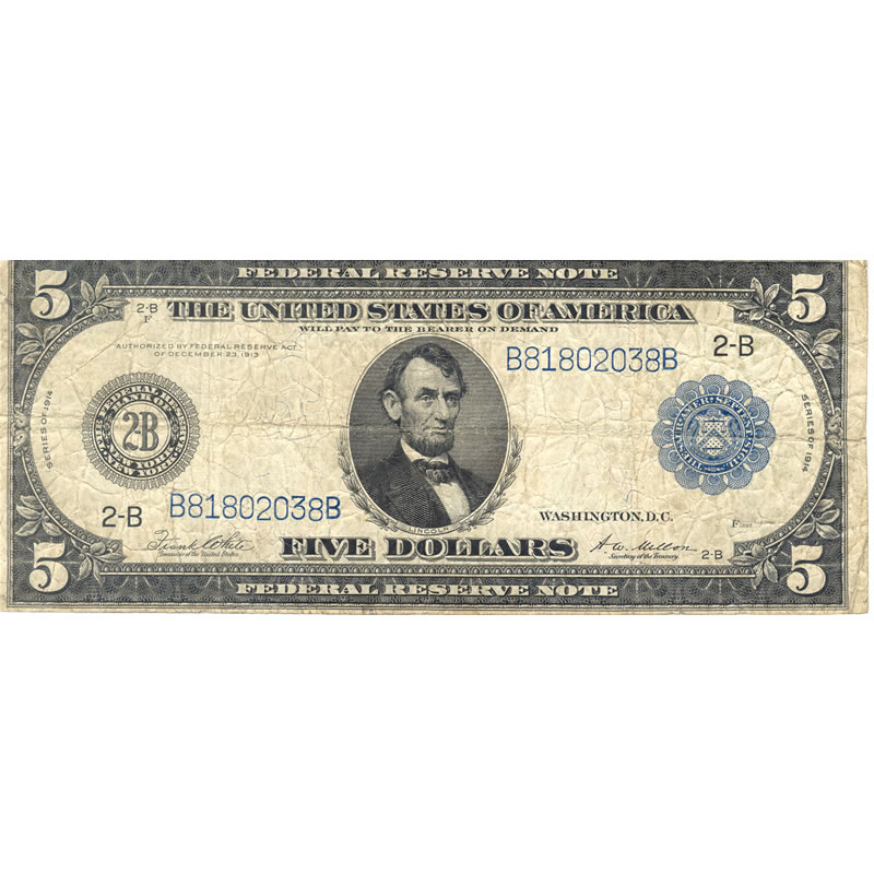 1914 $5 Federal Reserve Note G-VG