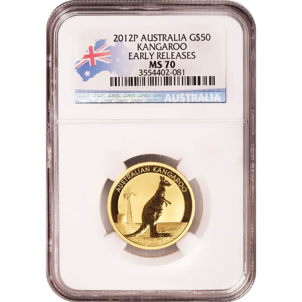 Australaia Gold Kangaroo 2012P Half Ounce MS70 NGC