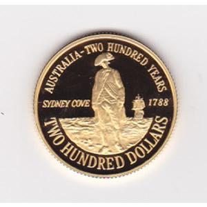 Australia $200 gold PF 1988 Sydney Cove Bicentennial